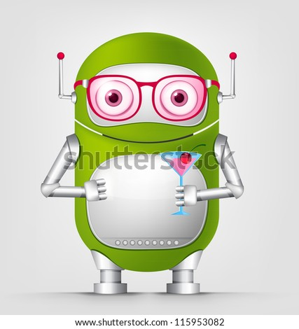 Cartoon Character Cute Robot Isolated on Grey Gradient Background. Cocktail. Vector EPS 10. - stock vector