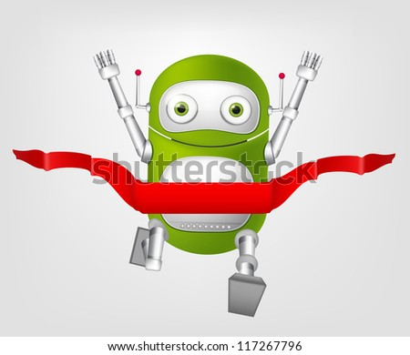 Cartoon Character Cute Robot Isolated on Grey Gradient Background. Finish. Vector EPS 10. - stock vector