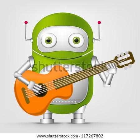 Cartoon Character Cute Robot Isolated on Grey Gradient Background. Guitarist. Vector EPS 10. - stock vector