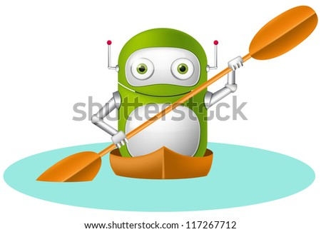 Cartoon Character Cute Robot Isolated on Grey Gradient Background. Kayaker. Vector EPS 10. - stock vector