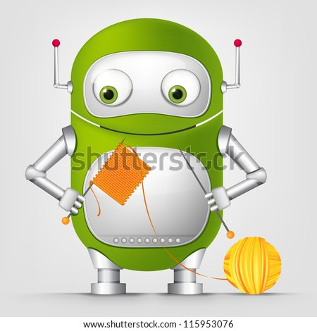 Cartoon Character Cute Robot Isolated on Grey Gradient Background. Kniting. Vector EPS 10. - stock vector