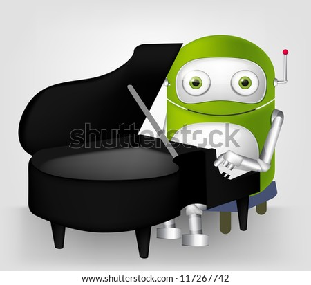 Cartoon Character Cute Robot Isolated on Grey Gradient Background. Pianist. Vector EPS 10. - stock vector