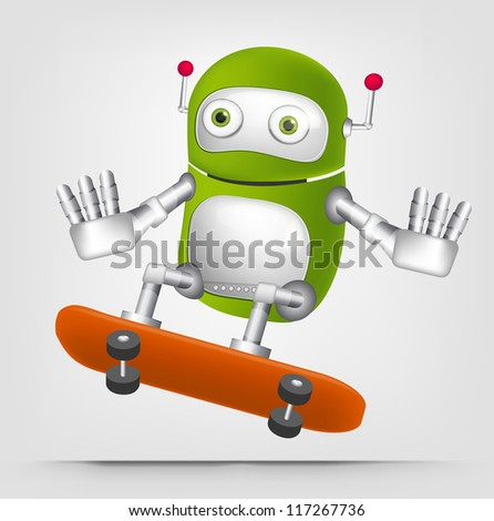 Cartoon Character Cute Robot Isolated on Grey Gradient Background. Skateboarding. Vector EPS 10. - stock vector