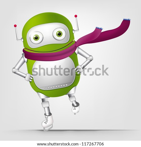 Cartoon Character Cute Robot Isolated on Grey Gradient Background. Skater. Vector EPS 10.