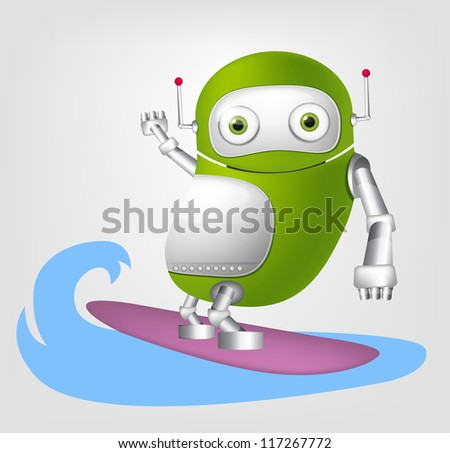 Cartoon Character Cute Robot Isolated on Grey Gradient Background. Surfing. Vector EPS 10. - stock vector