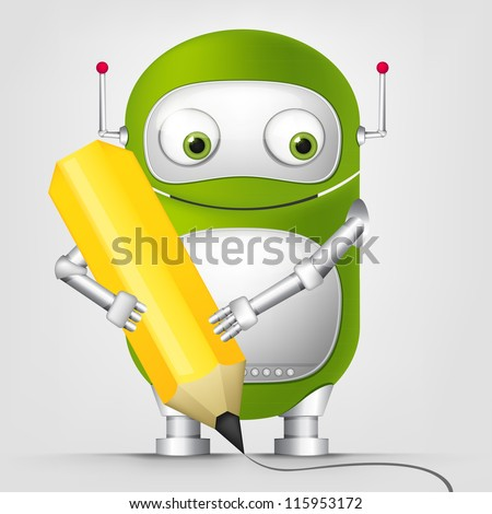 Cartoon Character Cute Robot Isolated on Grey Gradient Background. Writer. Vector EPS 10. - stock vector