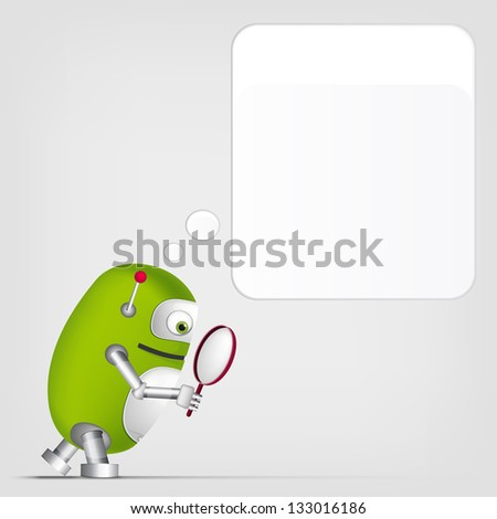 Cartoon Character Cute Robot on Grey Gradient Background. Search. Vector EPS 10. - stock vector