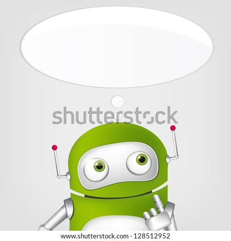 Cartoon Character Cute Robot on Grey Gradient Background. Thinking. Vector EPS 10. - stock vector