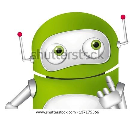 Cartoon Character Cute Robot. Vector EPS 10. - stock vector