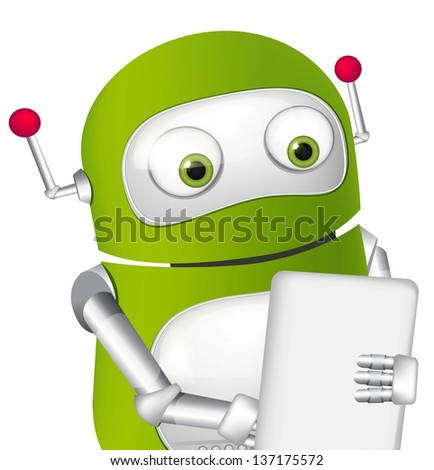 Cartoon Character Cute Robot. Vector EPS 10.