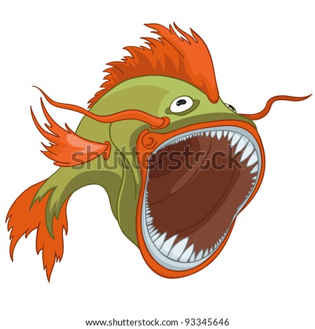 Cartoon Character Fish Isolated on White Background. Vector. - stock vector