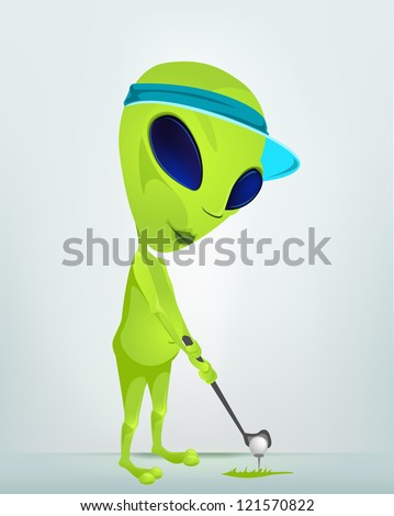 Cartoon Character Funny Alien Isolated on Grey Gradient Background.Golf. Vector EPS 10. - stock vector