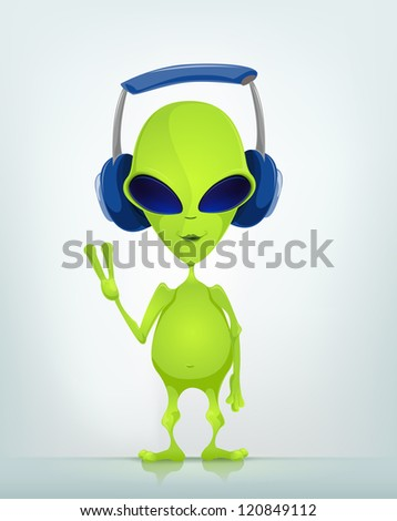 Cartoon Character Funny Alien Isolated on Grey Gradient Background. Listening to Music. Vector EPS 10. - stock vector