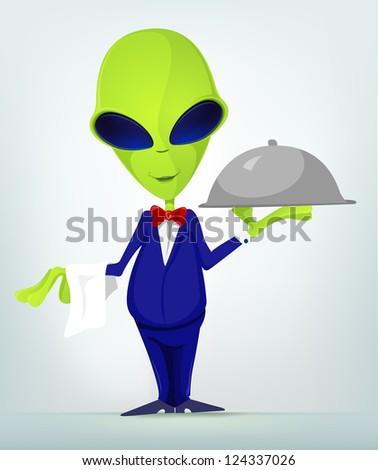 Cartoon Character Funny Alien. Vector Illustration. - stock vector