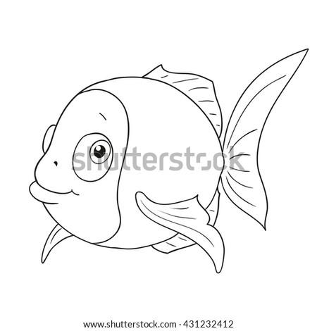 Cartoon Character Funny Fish Cute Vector Coloring Book