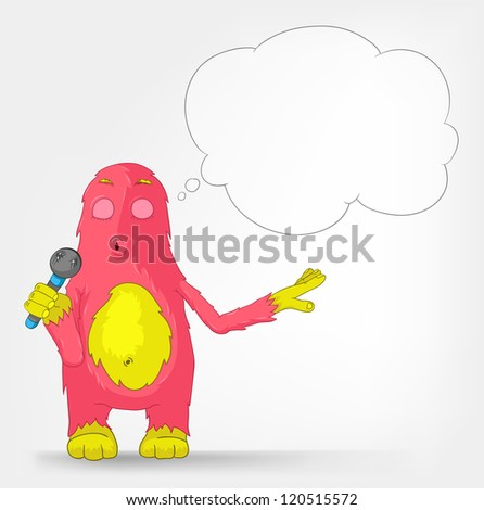 Cartoon Character Funny Monster Isolated on Grey Gradient Background. Singing. Vector EPS 10.