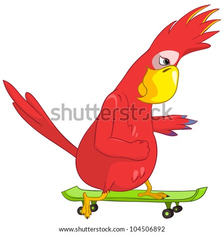 Cartoon Character Funny Parrot Isolated on White Background. Skateboarding. Vector EPS 10. - stock vector