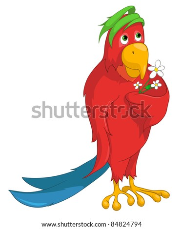 Cartoon Character Funny Parrot Isolated on White Background. Vector. - stock vector