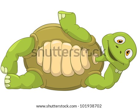 Cartoon Character Funny Turtle Isolated on White Background. Lie. Vector EPS 10. - stock vector