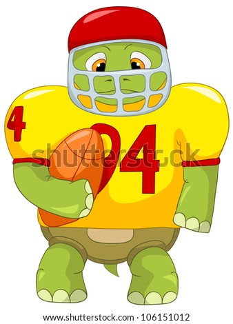 Cartoon Character Funny Turtle Isolated on White Background. Rugby. Vector EPS 10. - stock vector