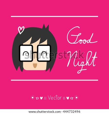 Cartoon character - good night greeting Great For Any Use. - stock vector