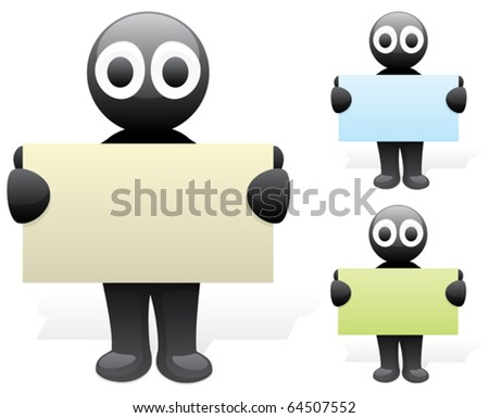 Cartoon character holding business card. 3 color versions.