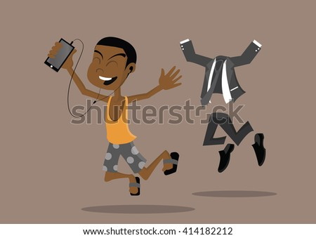 Cartoon character,Jumping African businessman happy holiday, vector eps10