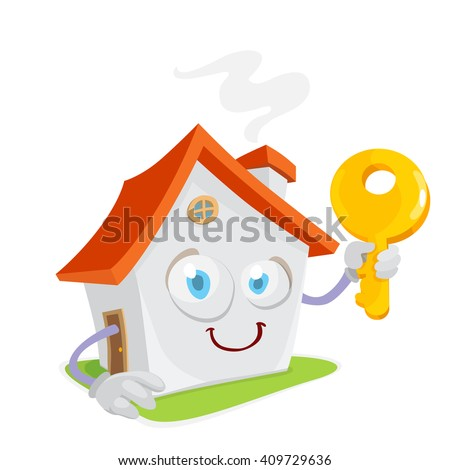 cartoon character mascot holding a cute yellow house key in hand