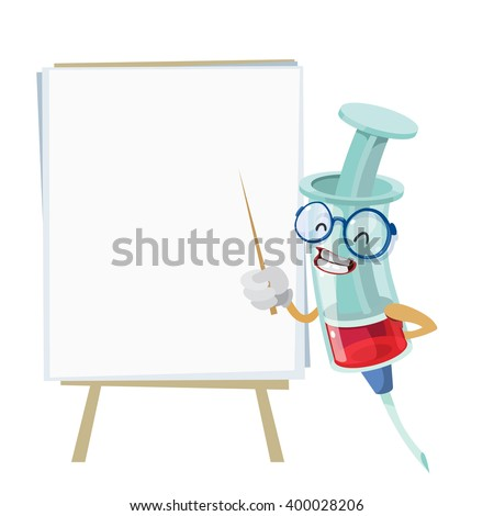 Cartoon character mascot medical syringe pointer that points to the bulletin board