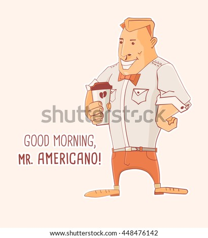 Cartoon character Mister Caffe Americano, vector illustration - stock vector