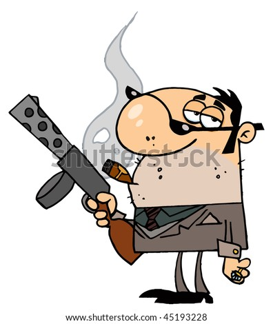 Cartoon Character Mobster Carries Weapon - stock vector