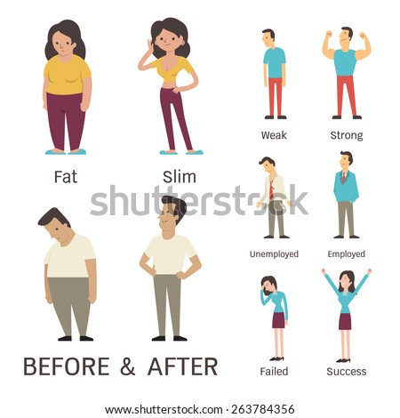 Cartoon character of man and woman in before and after concept. Presenting to fat, slim, weak, strong, unemployed, employed, failed and success. - stock vector