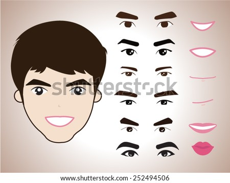 cartoon character pack facial emotions design elements isolated vector illustration  - stock vector