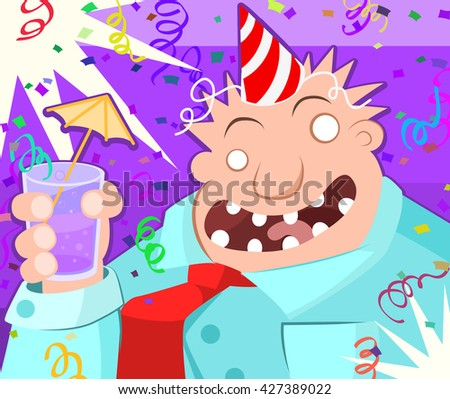 Cartoon character party toast, vector illustration, horizontal