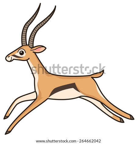 Cartoon character. Running antelope isolated on white background  - stock vector