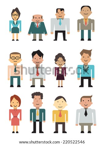 Cartoon character set of business people or office person in trendy flat design, man and woman, senior and subordinate worker, with multi-ethnic.  - stock vector