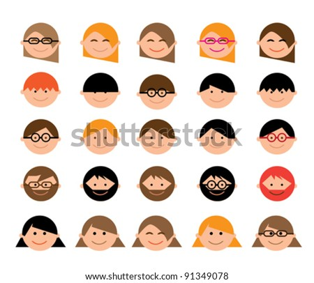 Cartoon Character...Set of 25 Faces... - stock vector