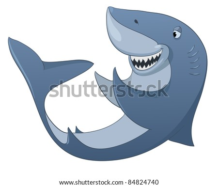 Cartoon Character Shark Isolated on White Background. Vector. - stock vector
