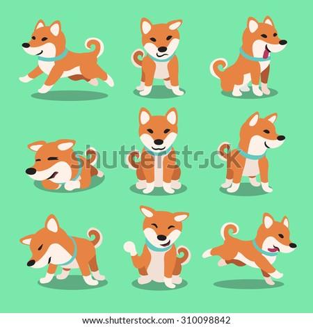 Cartoon character shiba inu dog poses - stock vector