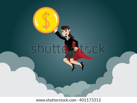 Cartoon character, Super business woman helped push dollar coins into the air., vector eps10 - stock vector