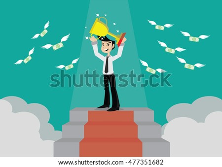 Cartoon character, The trophy and success of the businessman at the top., vector eps10