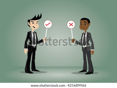 Cartoon character,Two businessman holding right and wrong signs., vector eps10 - stock vector