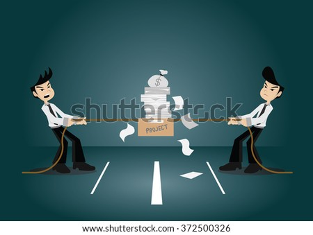 Cartoon character, Two businessmen poach pulling a rope project and money bag., vector eps10 - stock vector