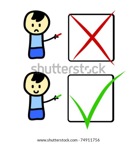 Cartoon character with check boxes - stock vector