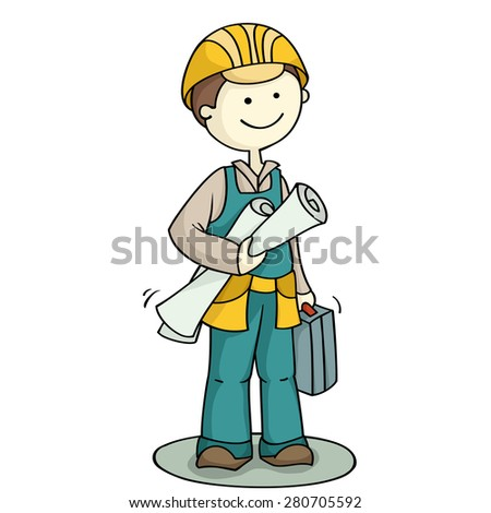 Cartoon character worker holding toolbox. Cute mechanical engineer standing with plan and helmet. Hand-drawn vector illustration isolated on white. - stock vector