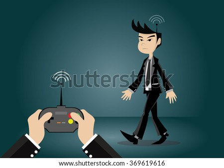 Cartoon character, young businessman that are forced by the remote control, vector eps10 - stock vector