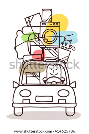 cartoon characters and car - move - stock vector