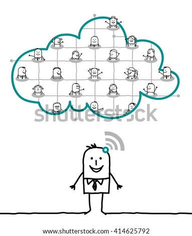cartoon characters and cloud - network - stock vector