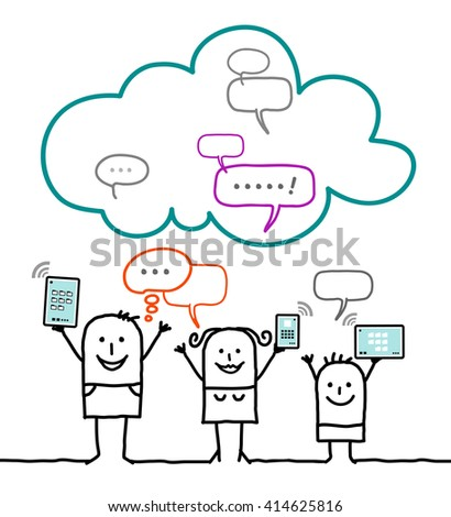 cartoon characters and cloud - social network - stock vector