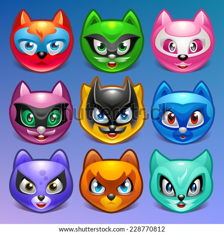 Cartoon characters. Cats in superhero role on background. Vector illustration eps 10. - stock vector